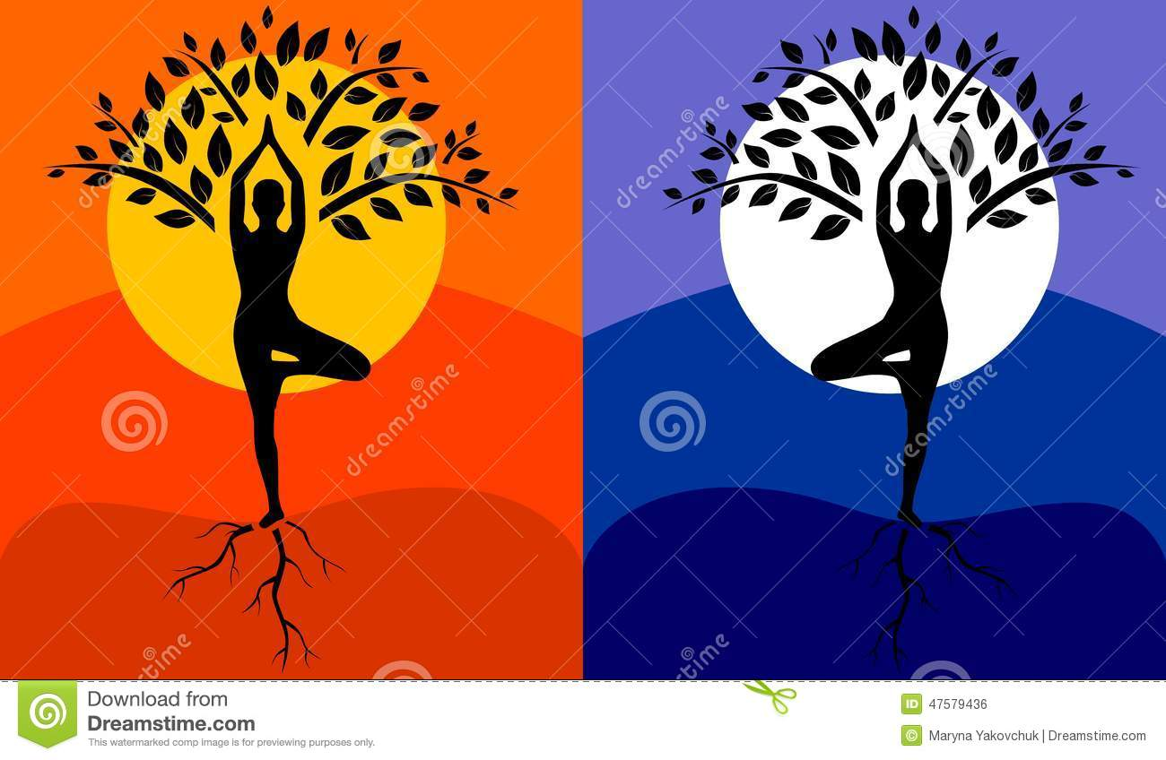 Tree Pose Yoga Stock Vector Image 47579436