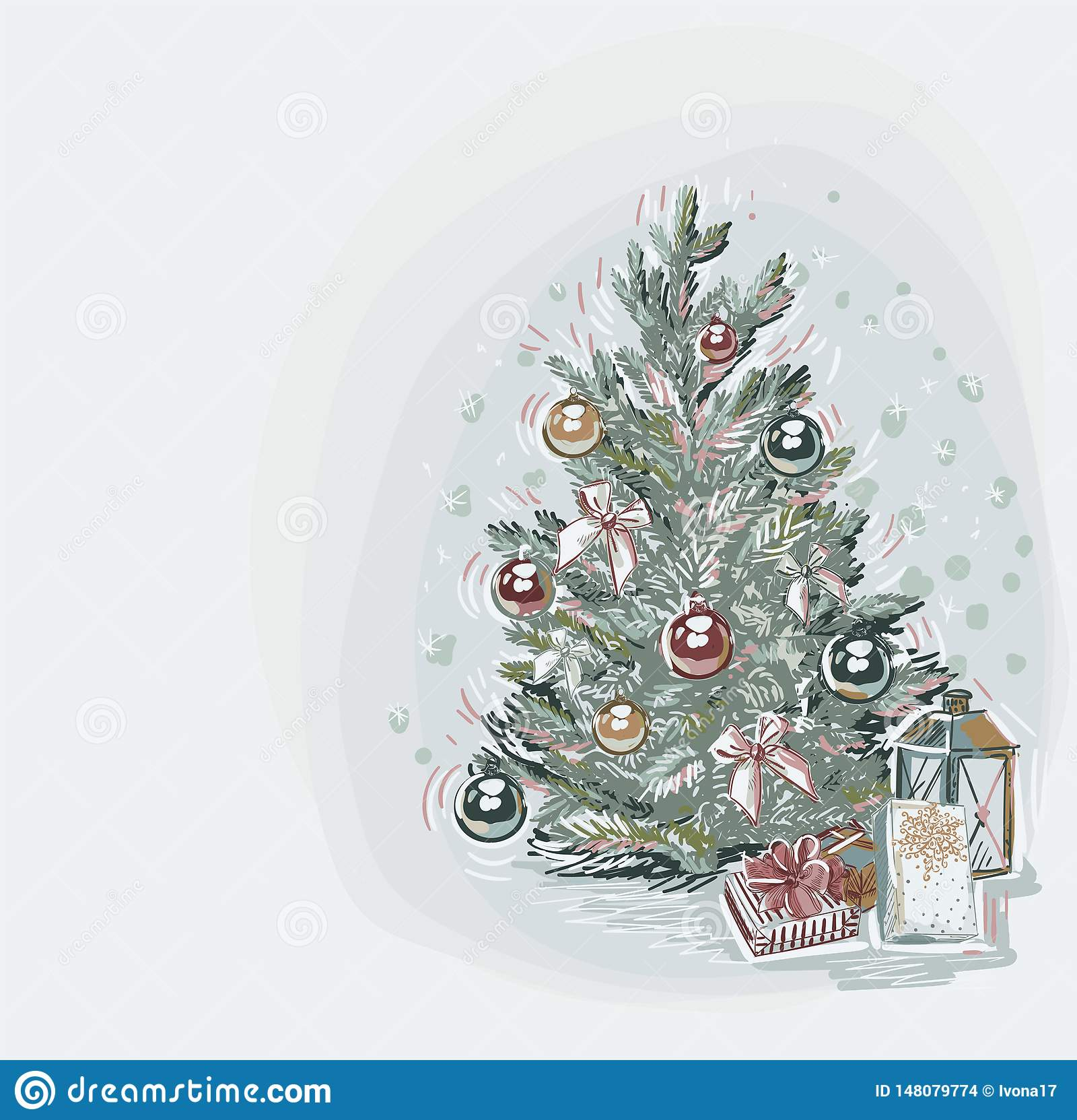 Tree presents blue vector christmas card background soft color pastel paint style