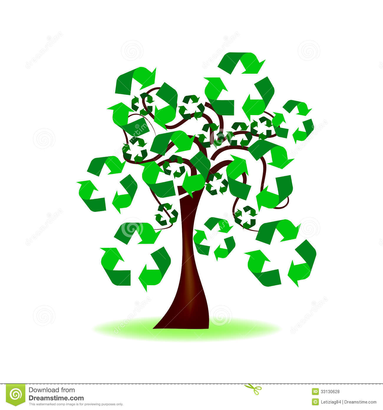 Tree With Recycling Icon Royalty Free Stock Photos - Image: 33130628