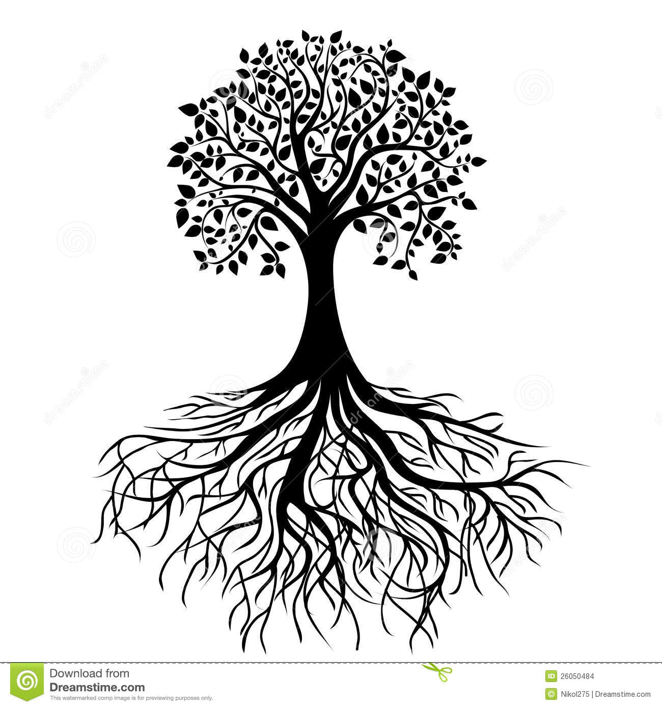 Tree with roots  Tree With Roots Clipart Outline