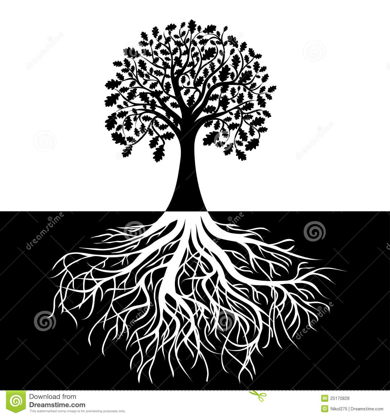 Tree With Roots On Black And White Background Stock Vector
