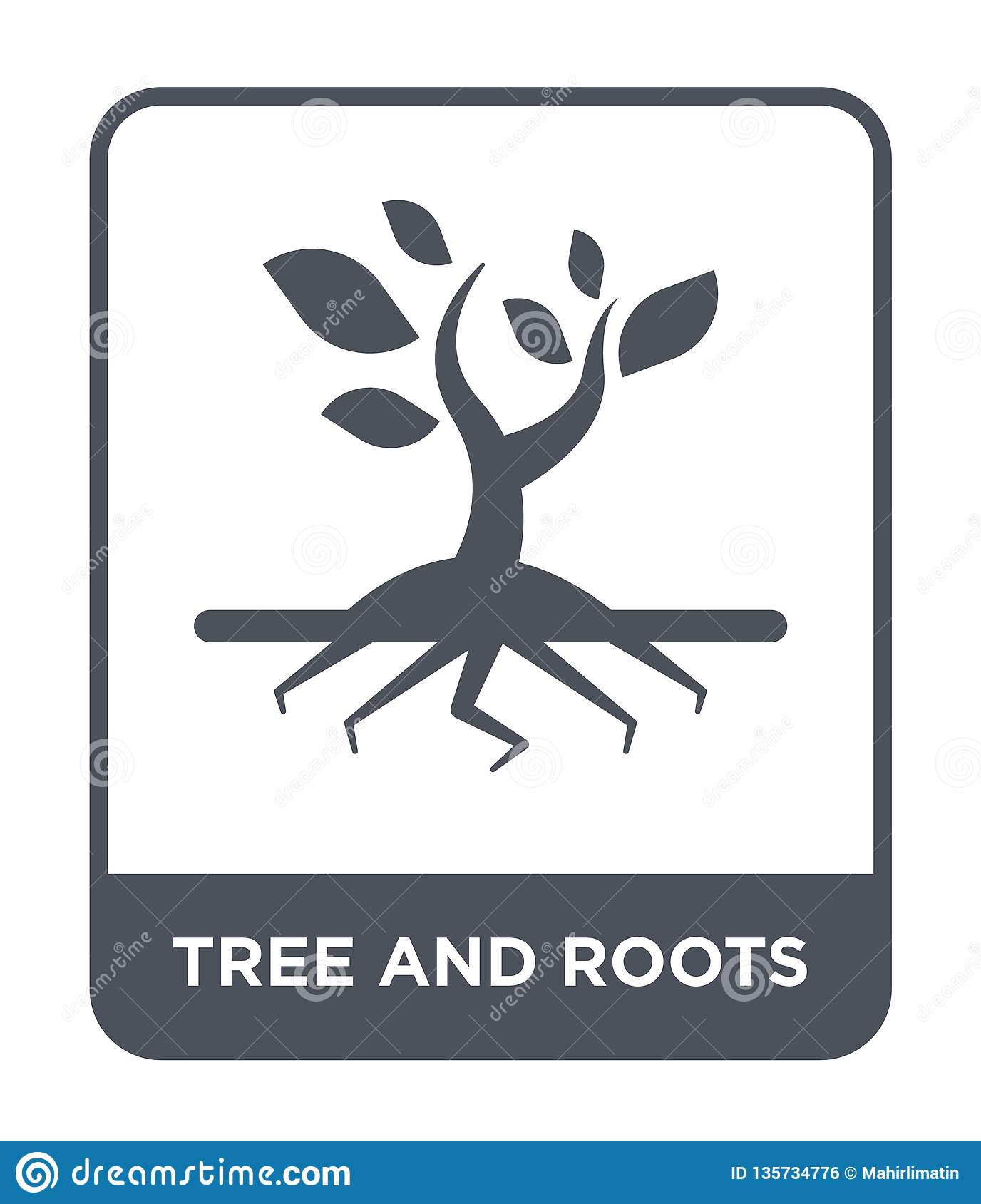 tree and roots icon in trendy design style. tree and roots icon isolated on white background. tree and roots vector icon simple