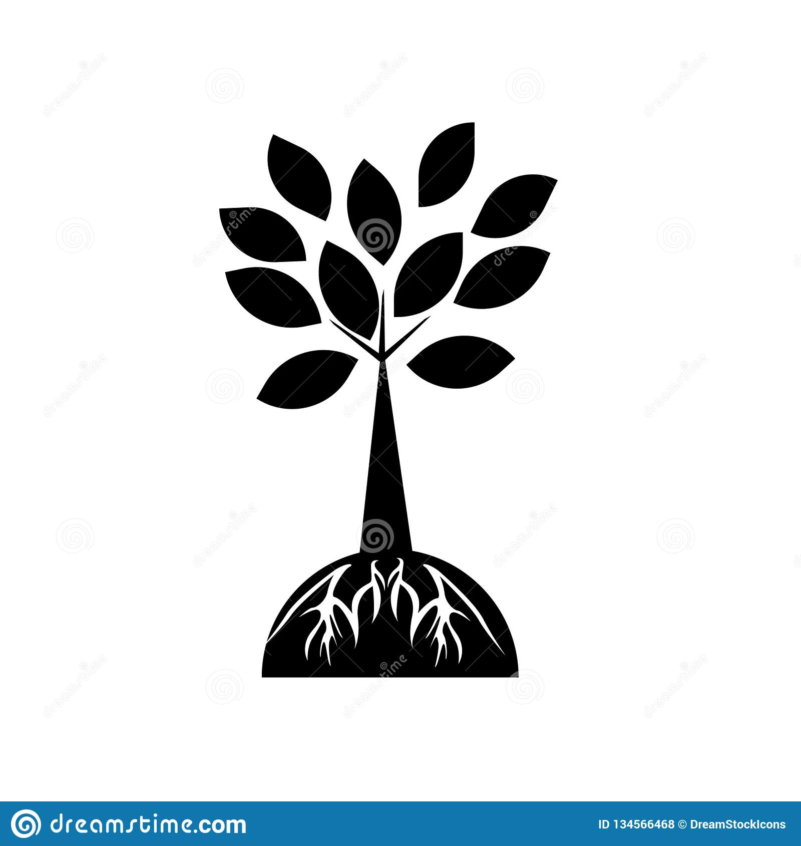 Tree and roots icon vector sign and symbol isolated on white background, Tree and roots logo concept