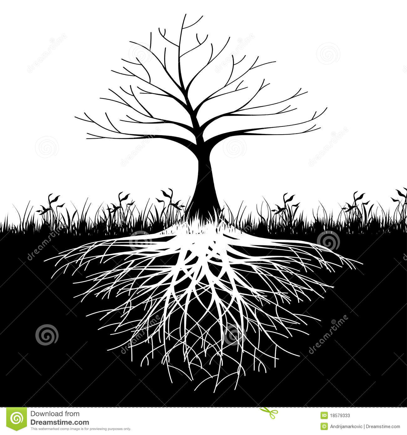 Tree roots silhouette stock vector. Illustration of grass ...