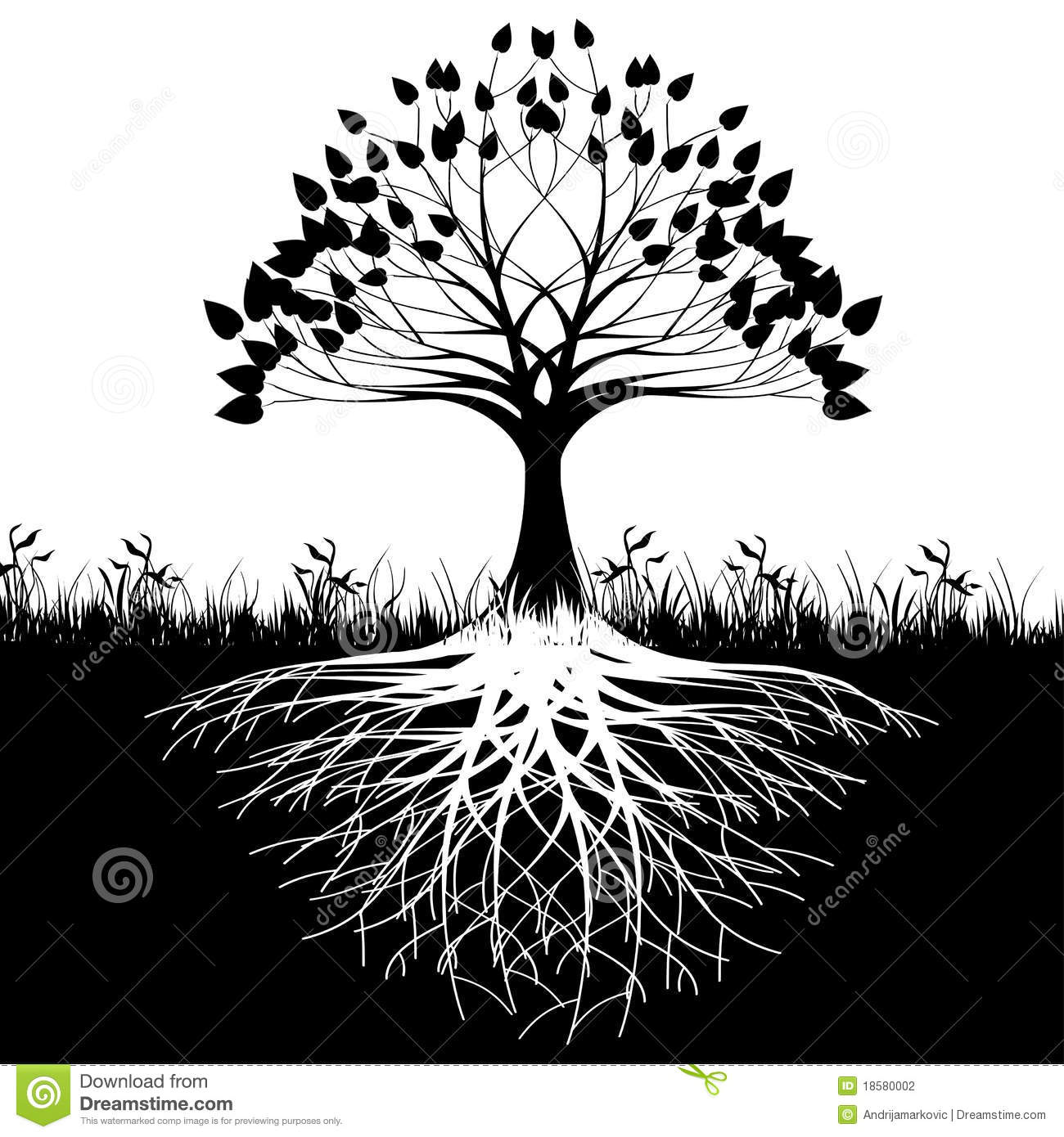 Illustration Of Silhouette Tree With Roots As A Symbol Nature