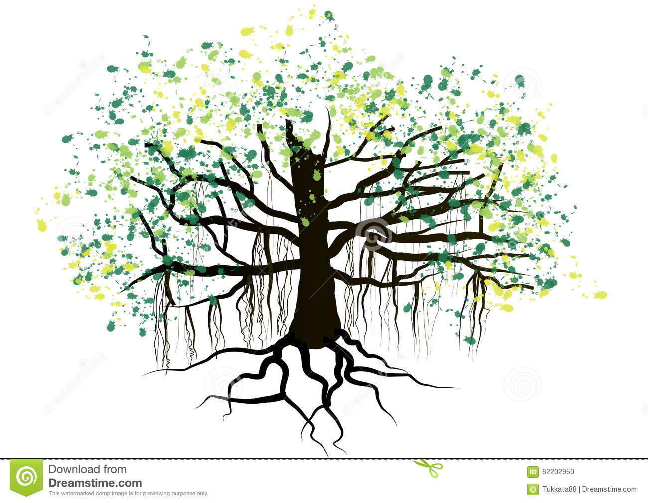 Tree With Roots Underground Watercolor Design,vector Stock ...