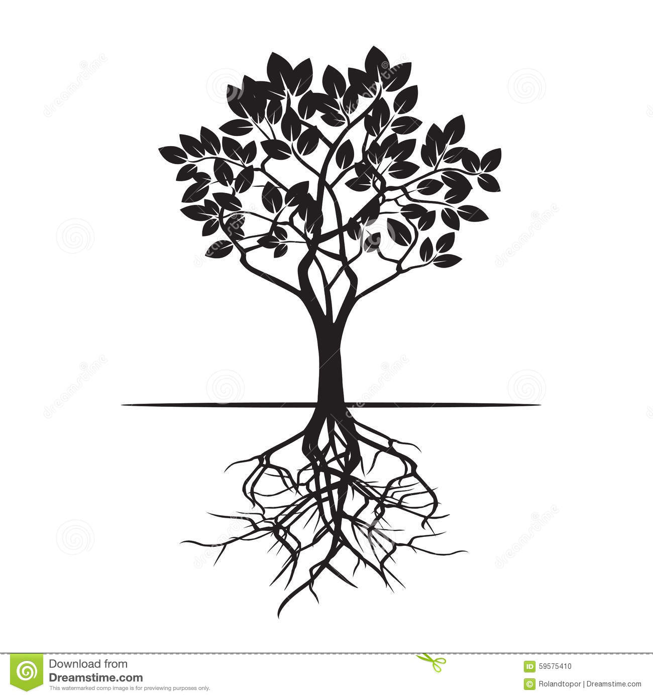 tree and roots vector illustration stock illustration rh dreamstime com tree with roots vector free family tree with roots vector