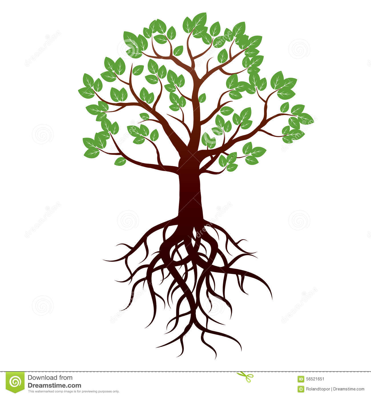 tree and roots vector illustration stock illustration rh dreamstime com tree silhouette roots vector free tree roots vector drawing