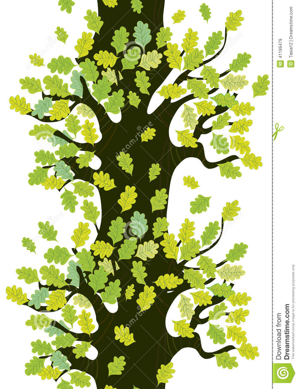 Tree Seamless Border With Oak Leaves Cute Stock Vector - Image: 41199479