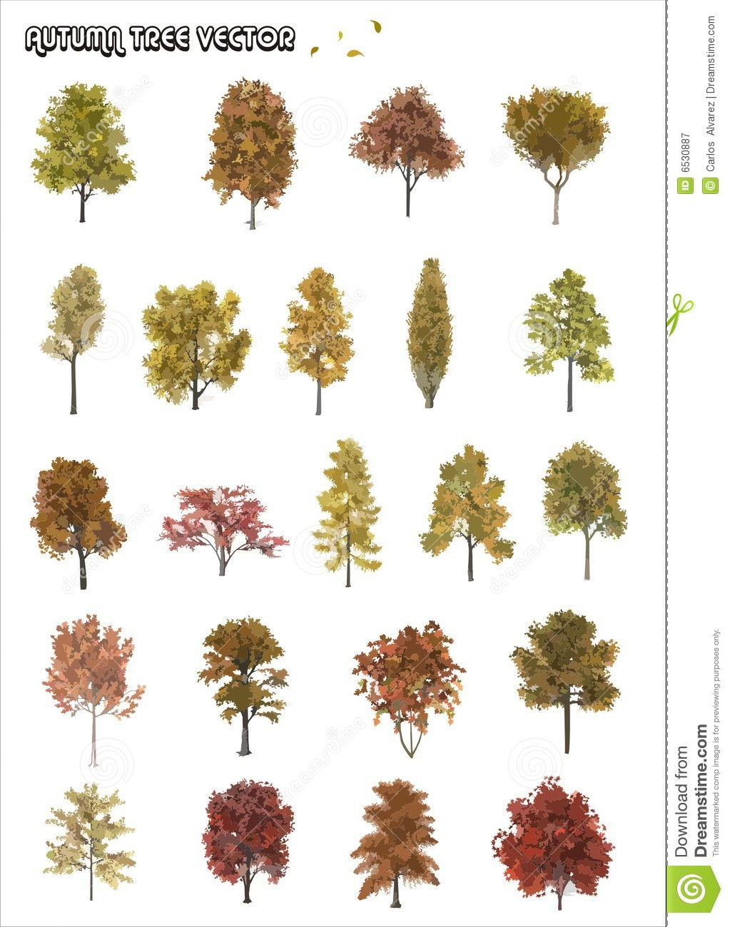 Tree shapes illustration composition over a white background