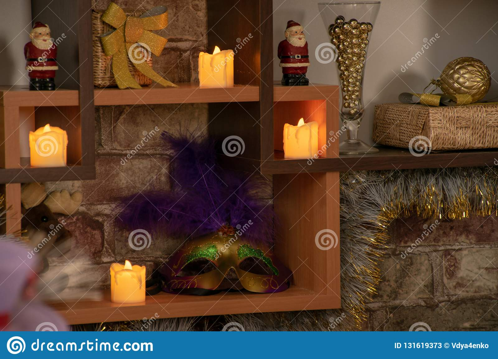 Tree shelves with Christmas decorations