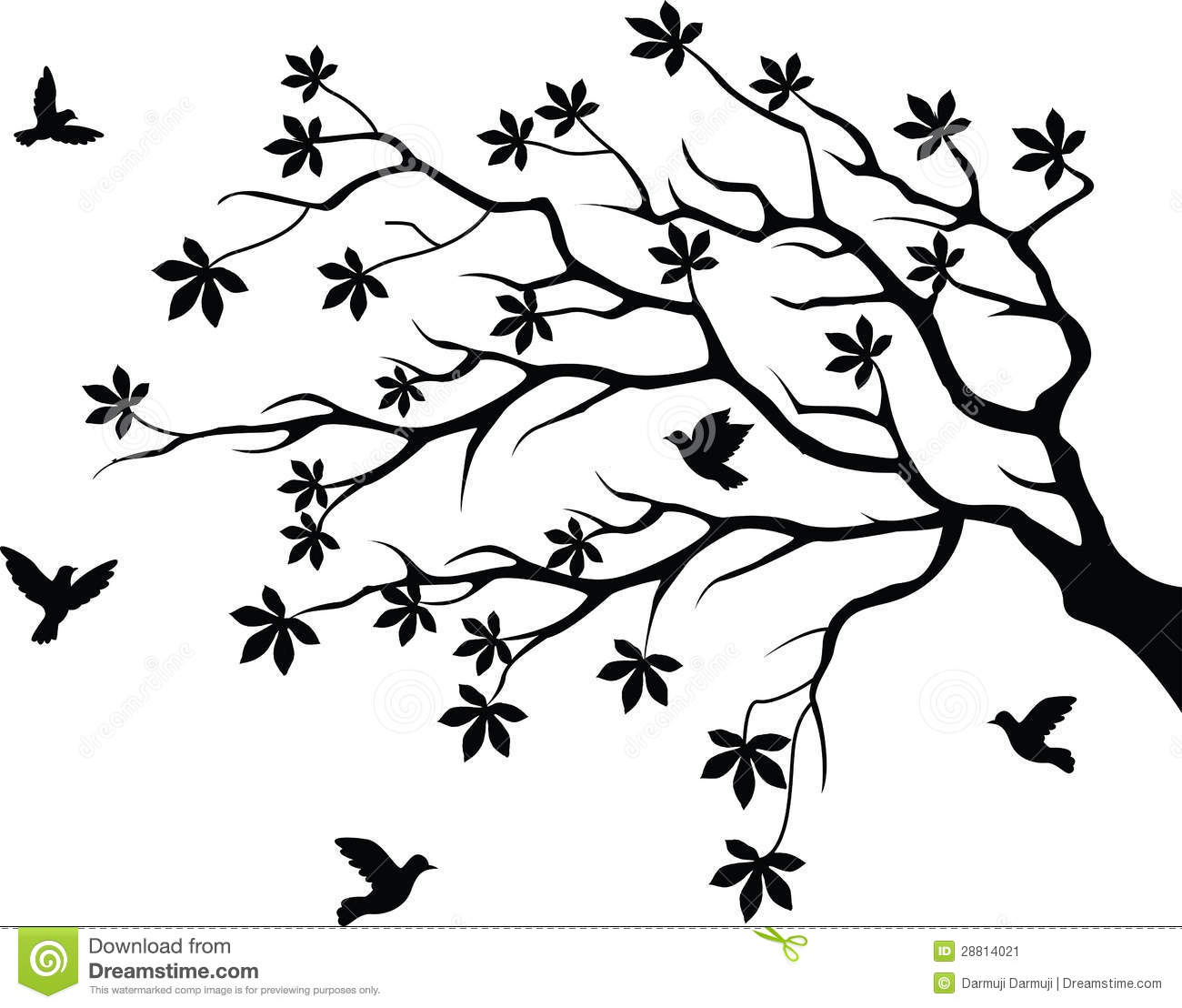 Cat Wall Murals Tree Silhouette With Bird Flying Stock Vector