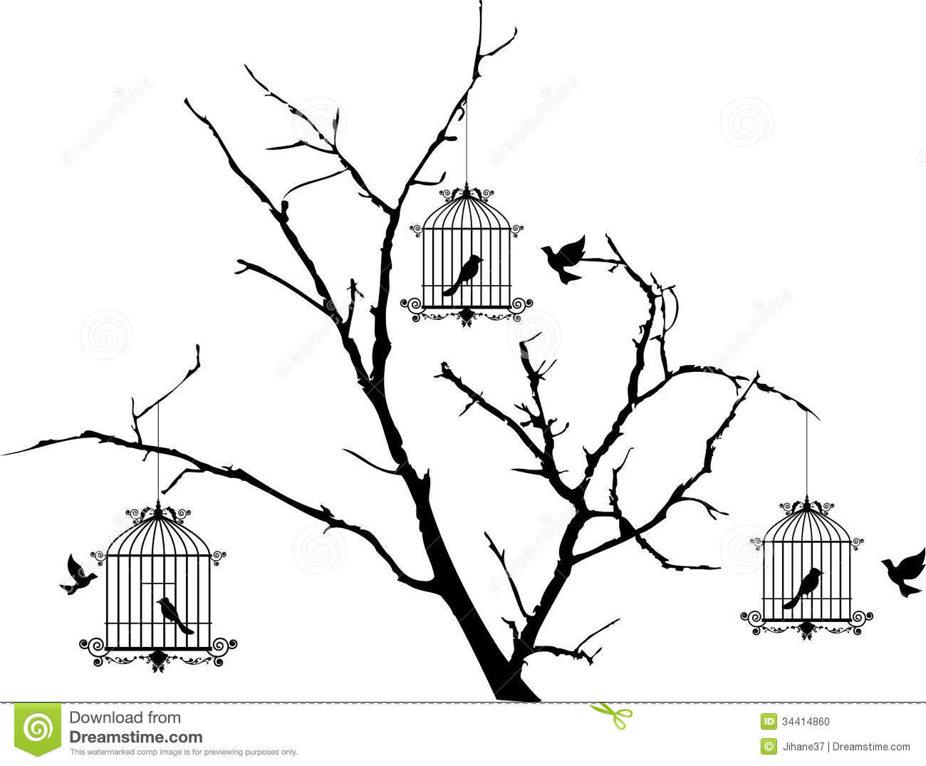 Open Birdcage Silhouette Tree silhouette with birds