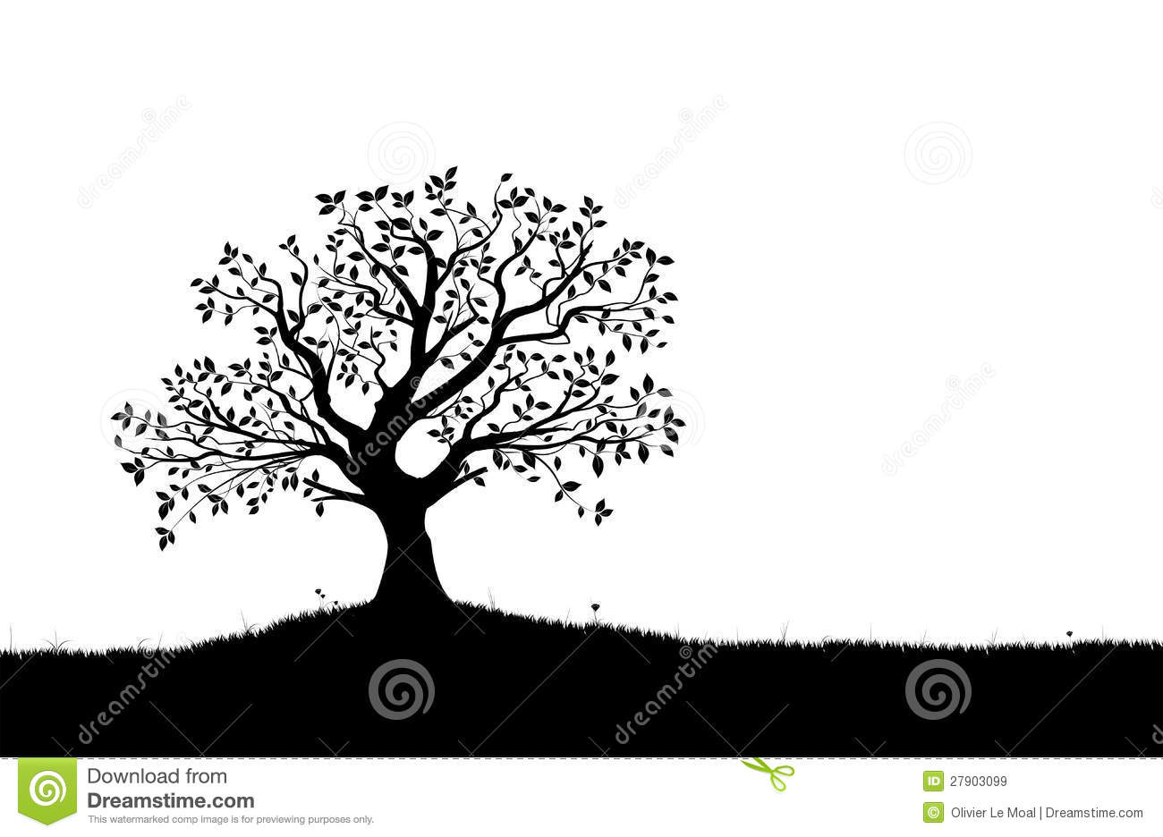 Tree Silhouette, Black And White Vector Shape Royalty Free Stock ...