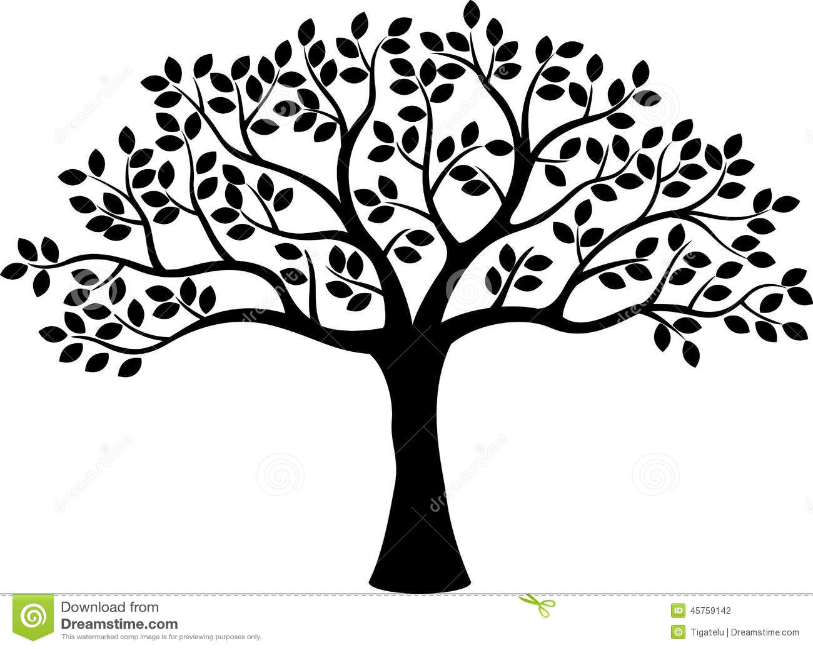Tree Silhouette Cartoon Stock Vector Illustration Of Grunge
