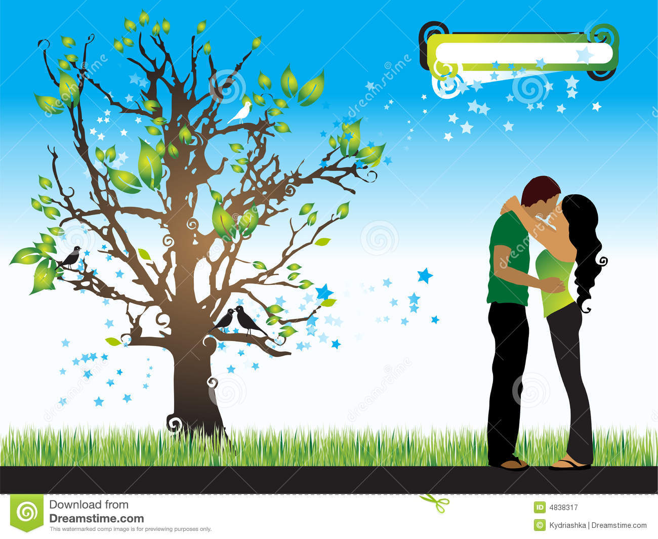 tree silhouette couple royalty free stock photography