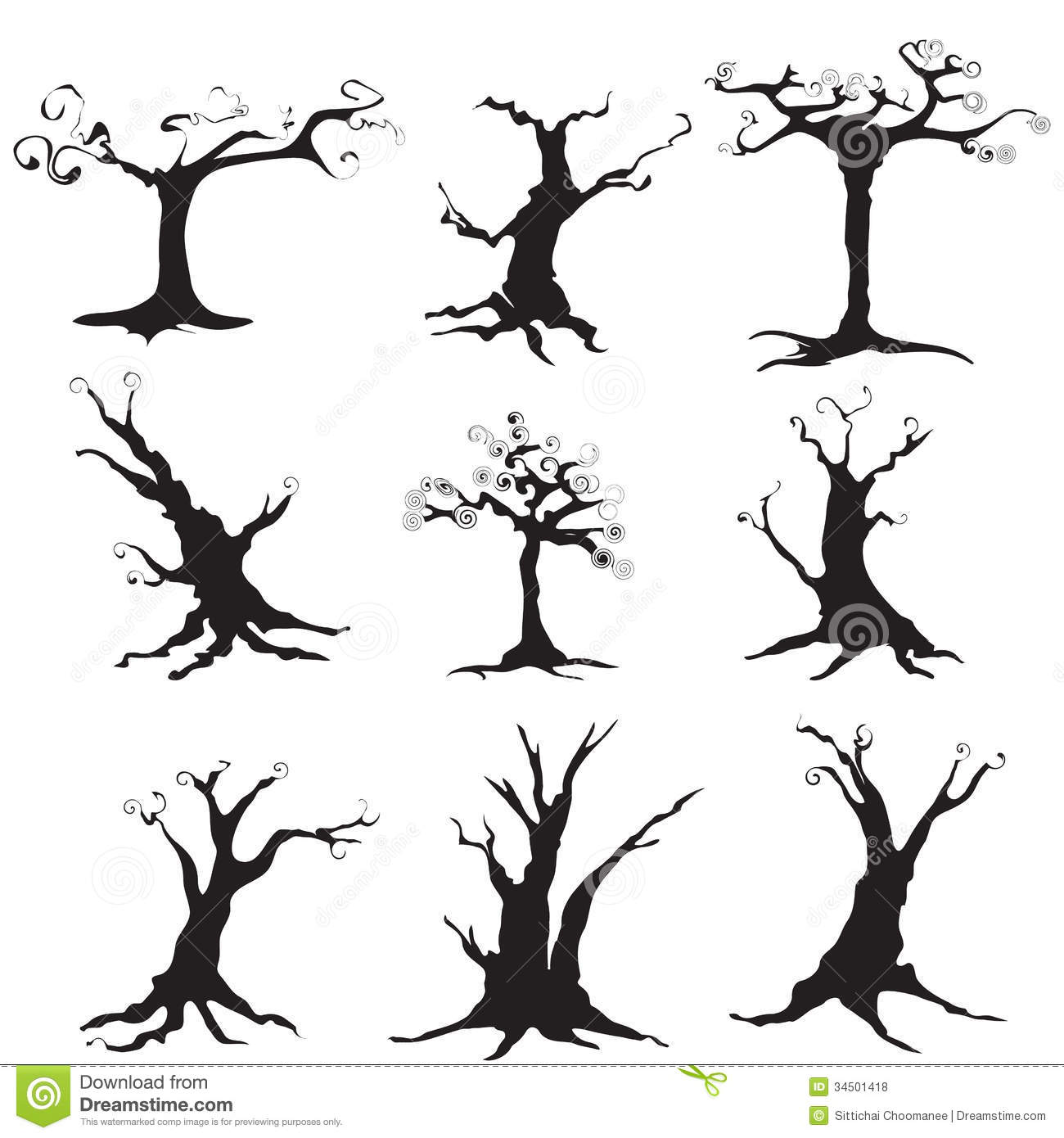 collection of trees silhouettes for decoration in halloween