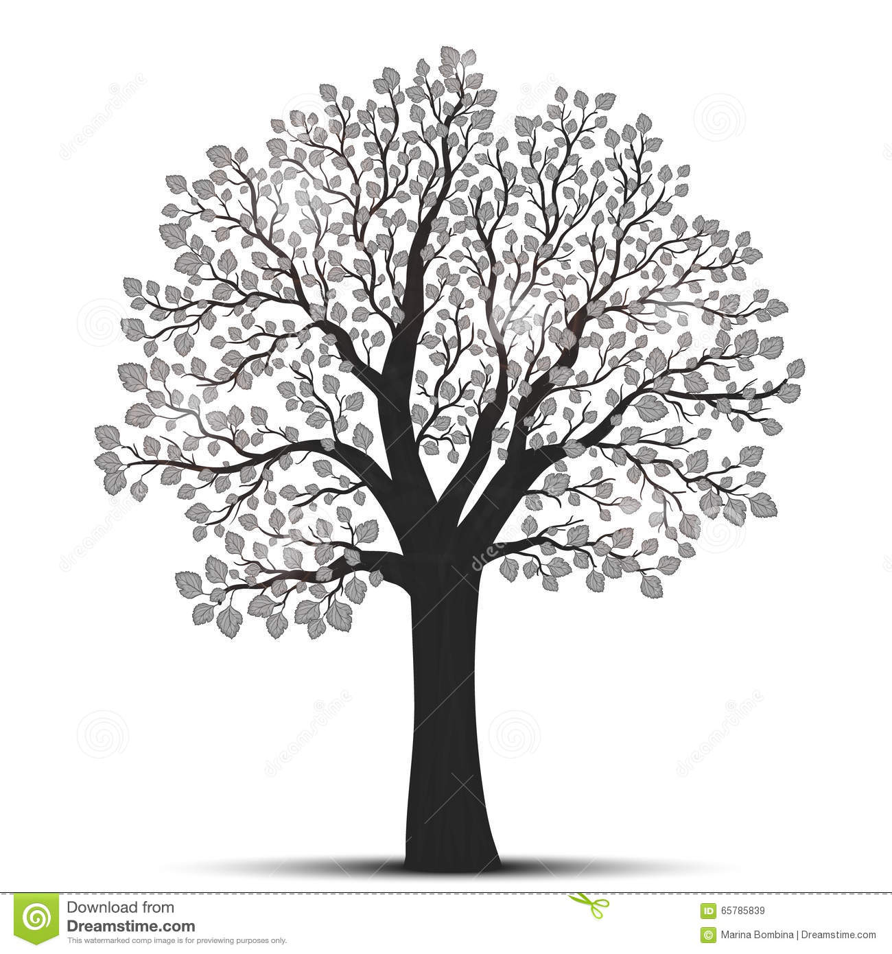tree silhouette with leaves stock vector image 65785839