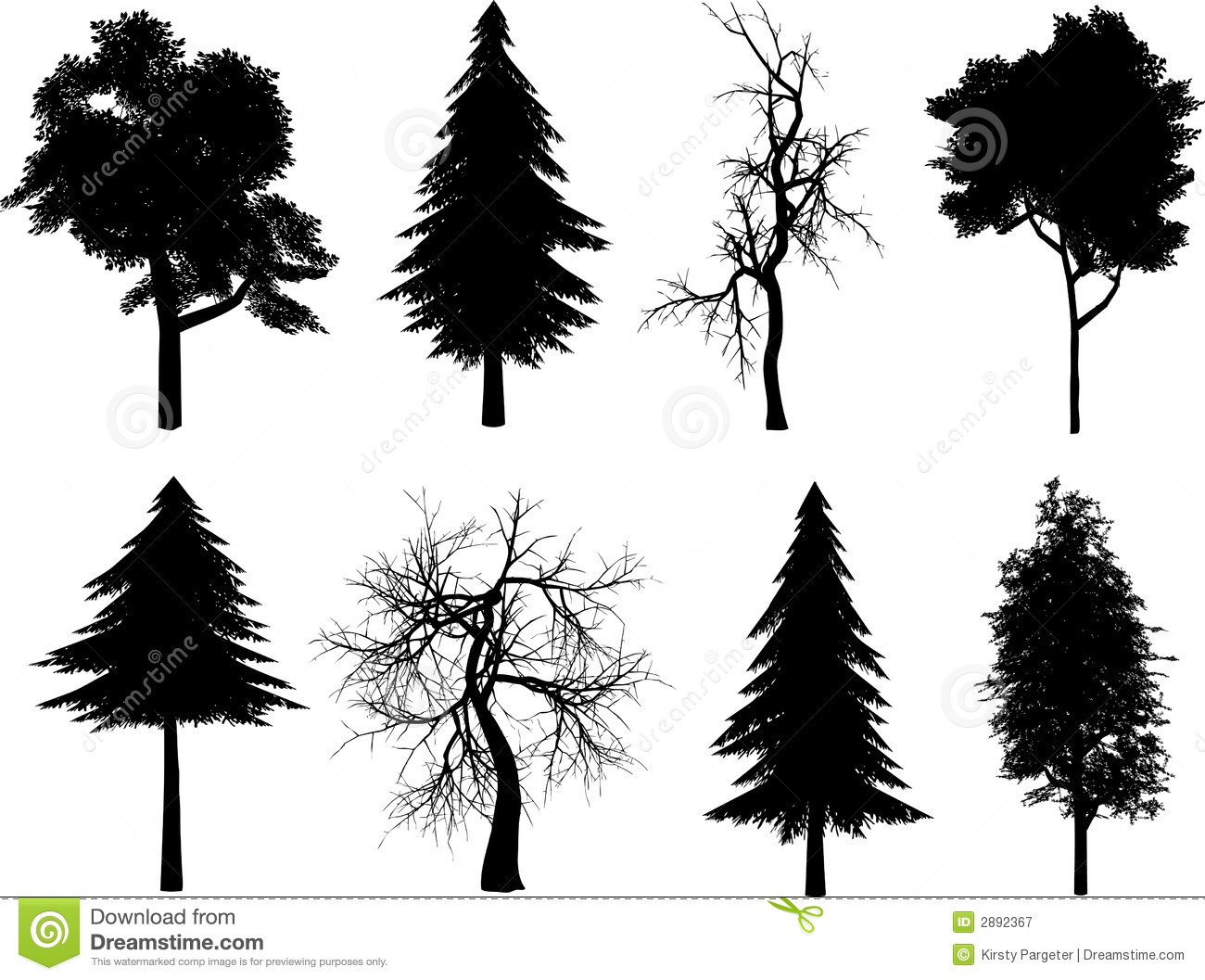 Tree Silhouettes Royalty Free Stock Photography - Image: 2892367