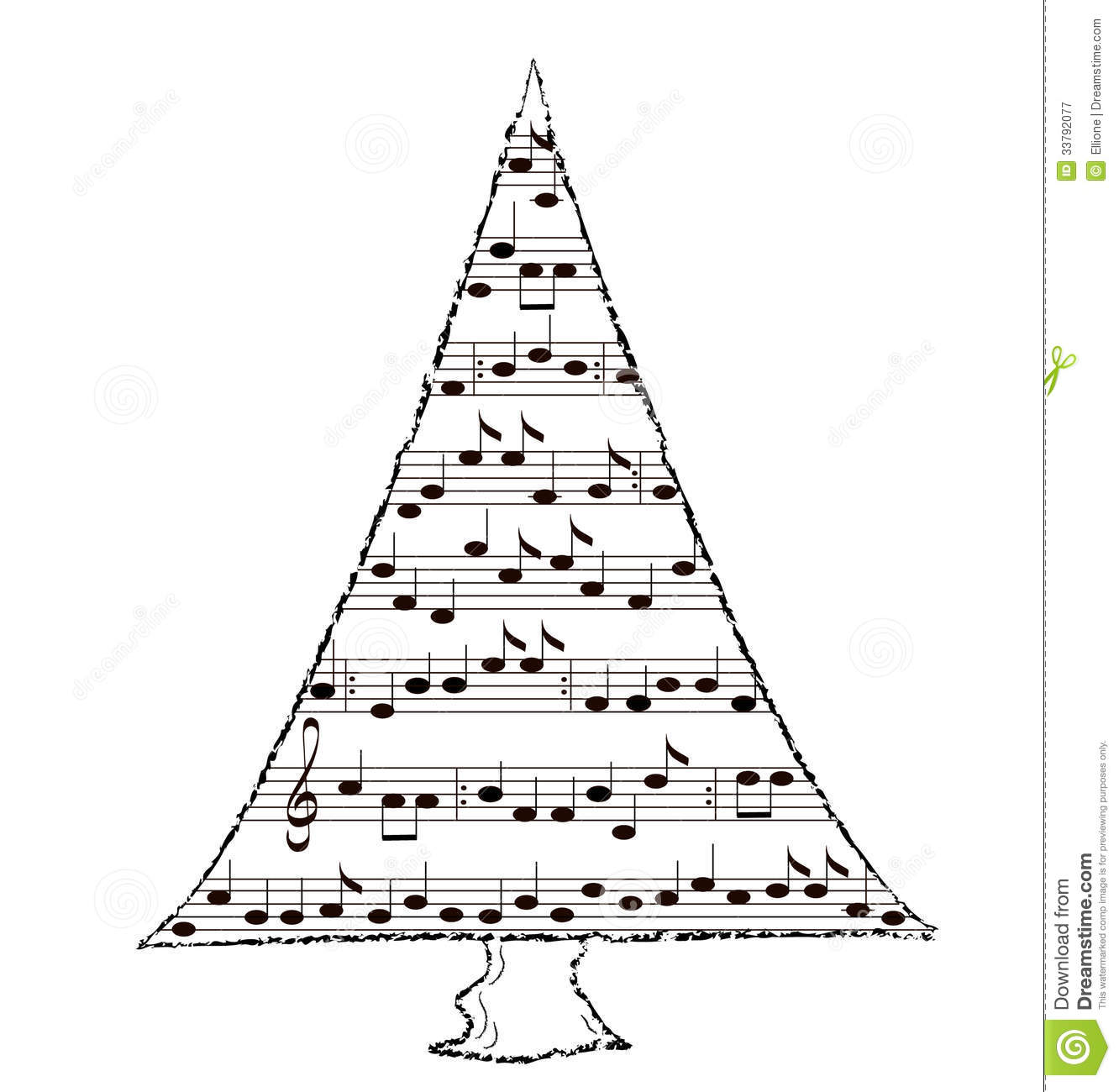 Holiday Spruce Tree, Christmas Music Theme Royalty Free Stock ...