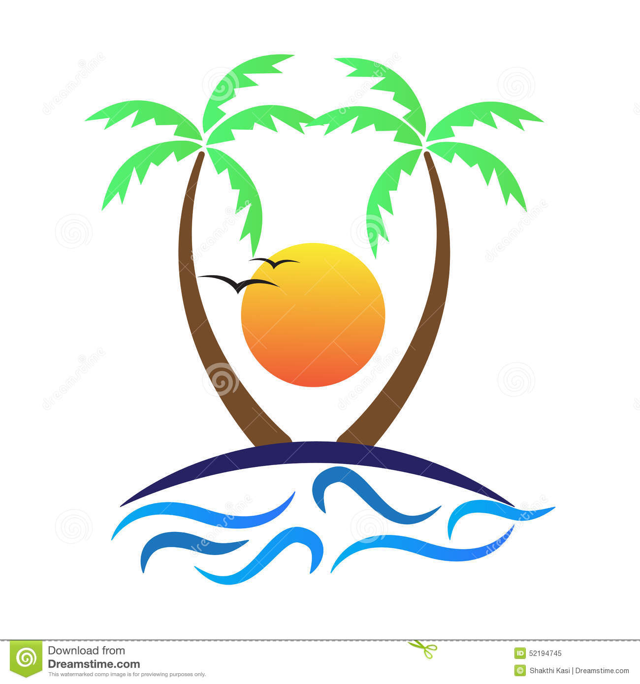 Tree Sun Stock Vector Image 52194745
