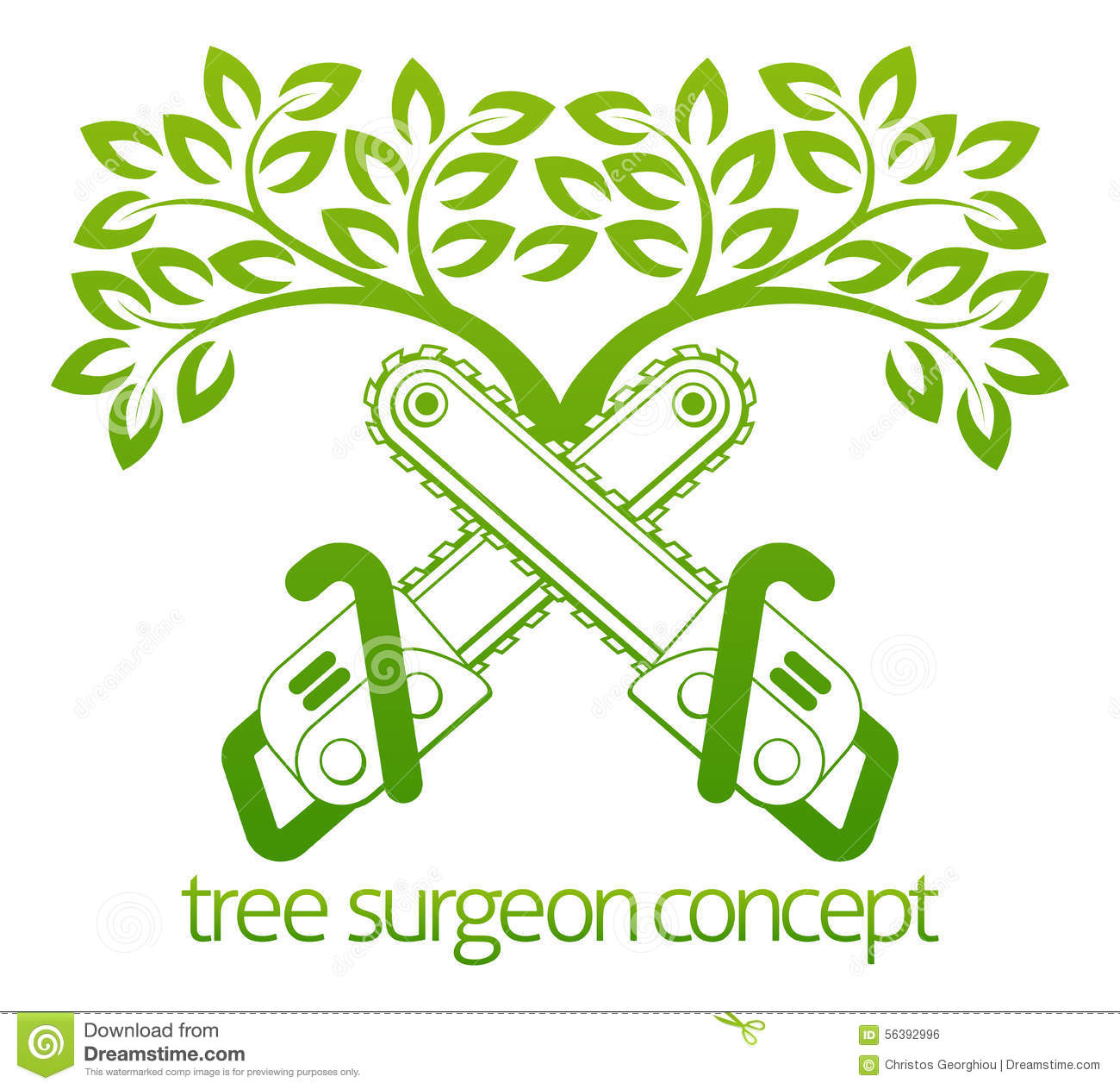 Tree Surgeon Cainsaws And Tree Design Stock Vector Illustration Of Logo Spring 56392996