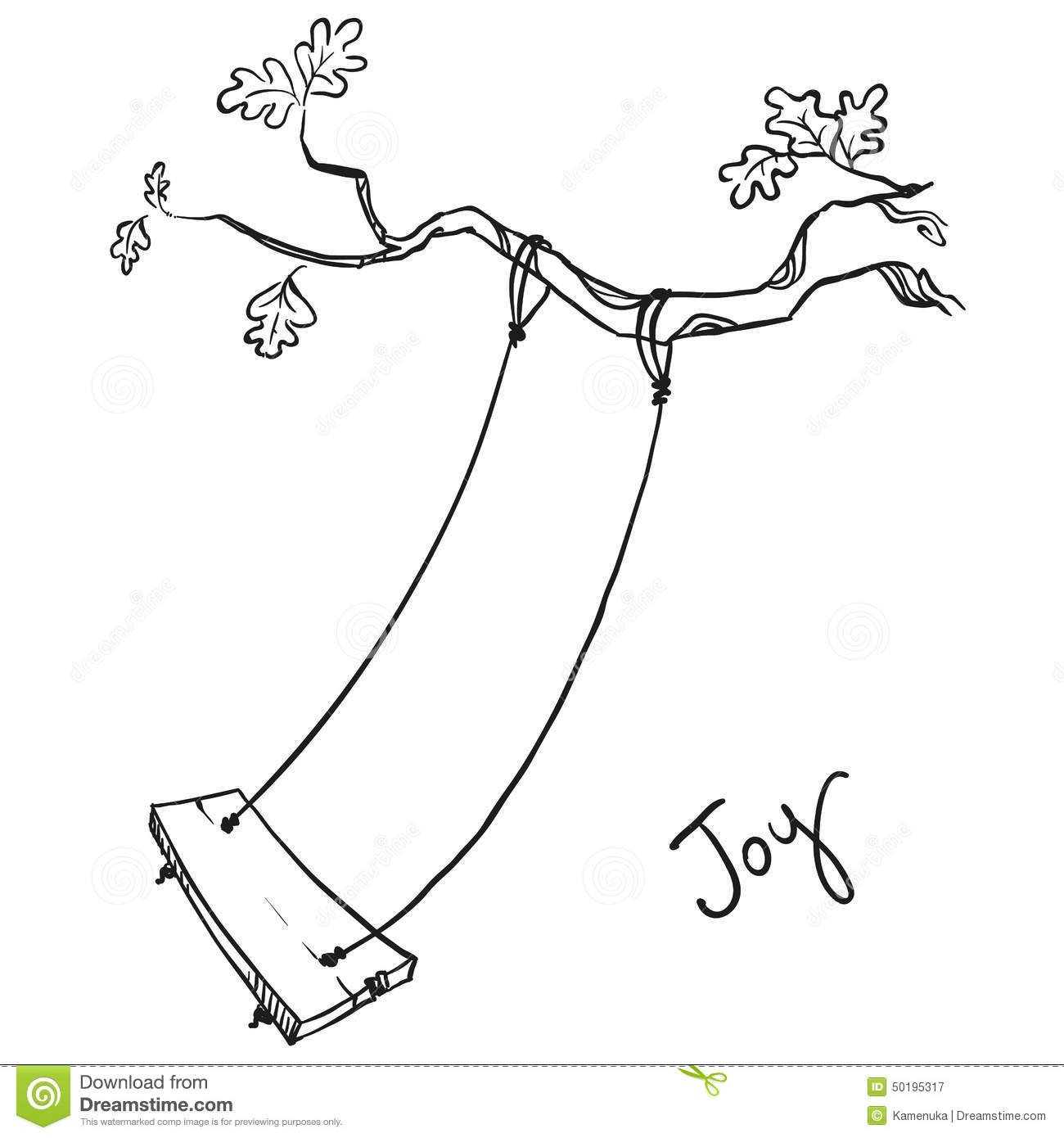 Tree With A Swing Stock Vector Image 50195317