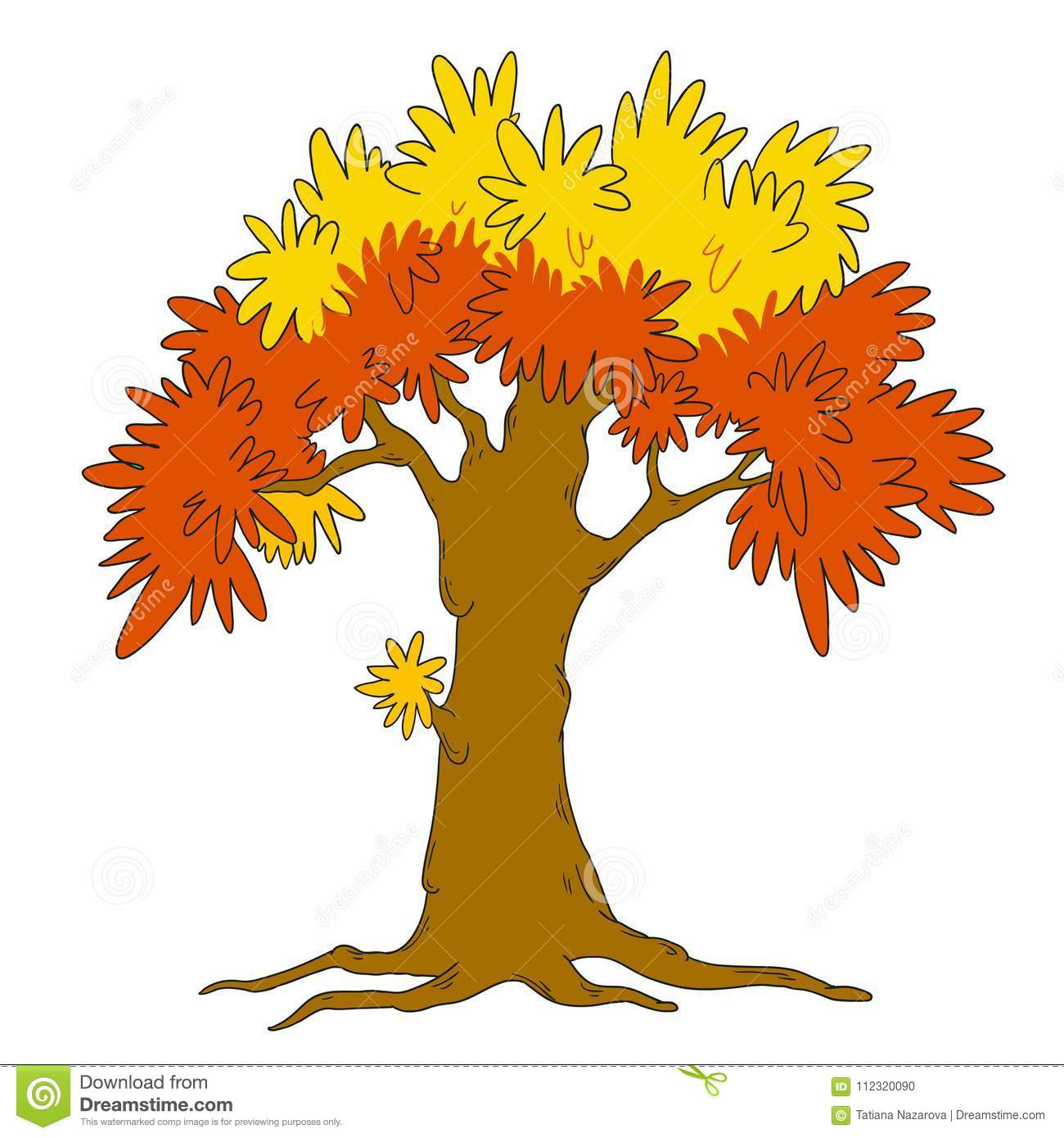 Tree Template For Design Vector Isolated Seasons Autumn A Tree
