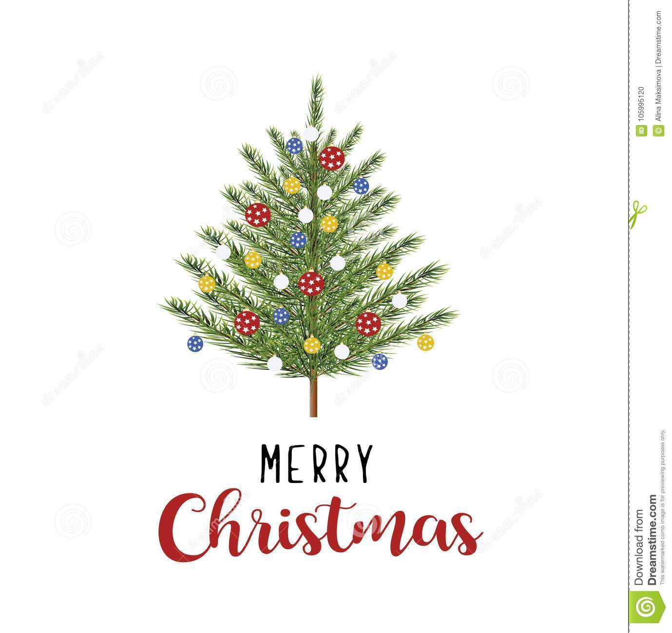 Tree With Toys Merry Christmas Card. Stock Vector - Illustration of ...
