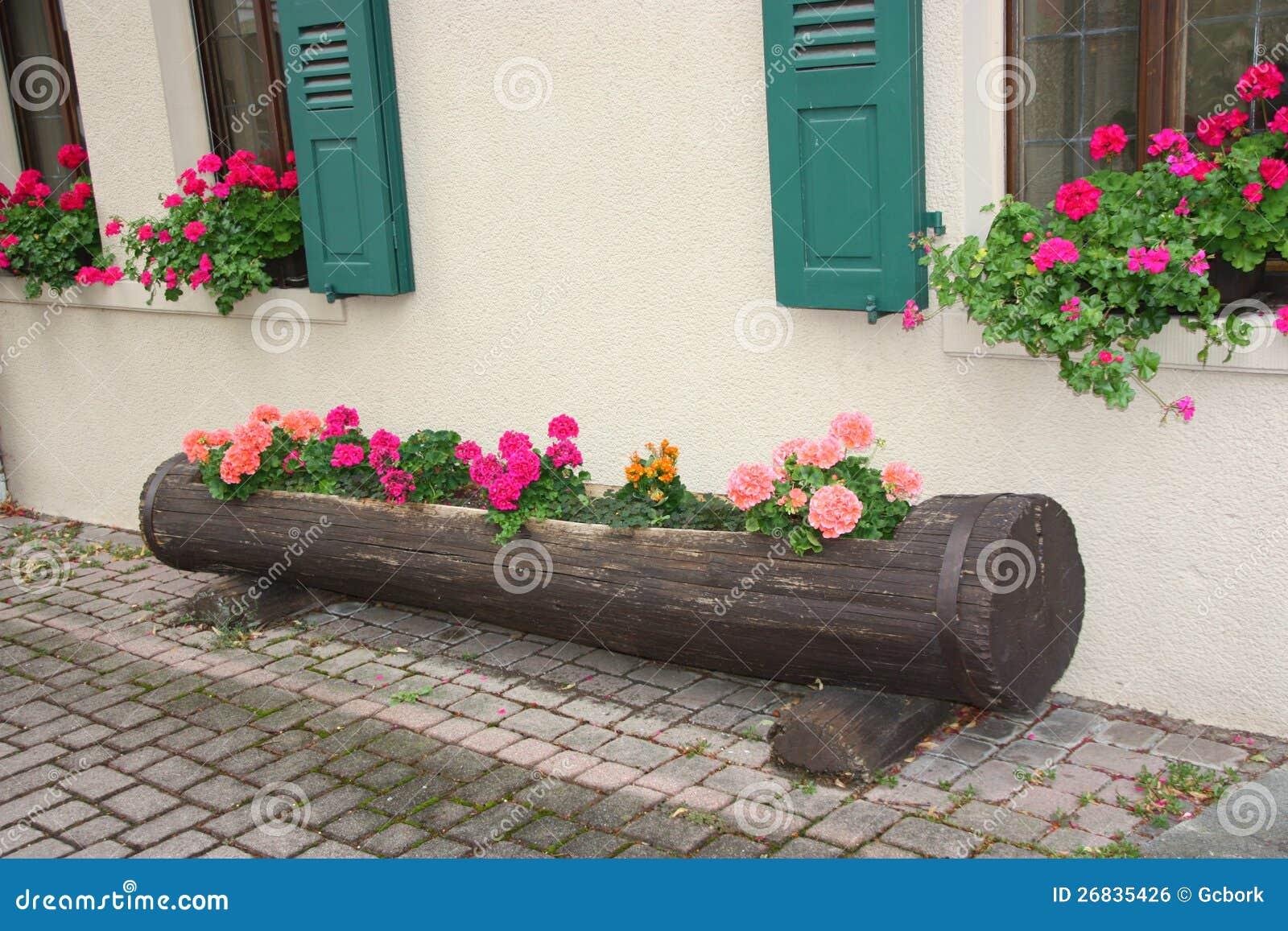 Tree Trunk Flower Box Royalty Free Stock Image Image