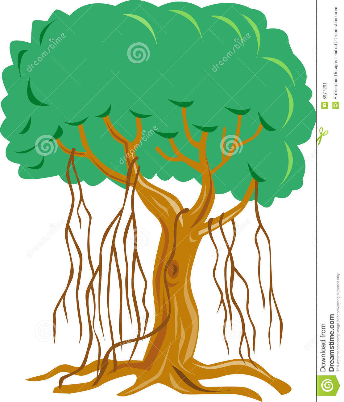 Vector art of trees and flora isolated on white background.