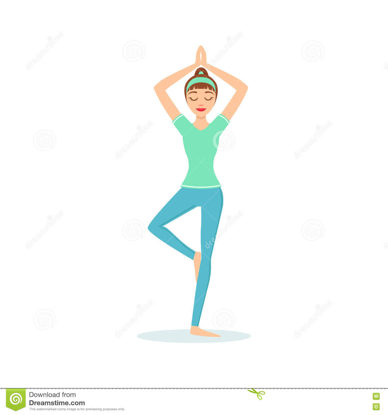 Tree Vriksasana Yoga Pose Demonstrated By The Girl Cartoon Yogi With Ponytail In Blue Sportive Clothing Vector Stock Vector Illustration Of Ancient Isolated 80971324 Added on 05 dec 2017. dreamstime com