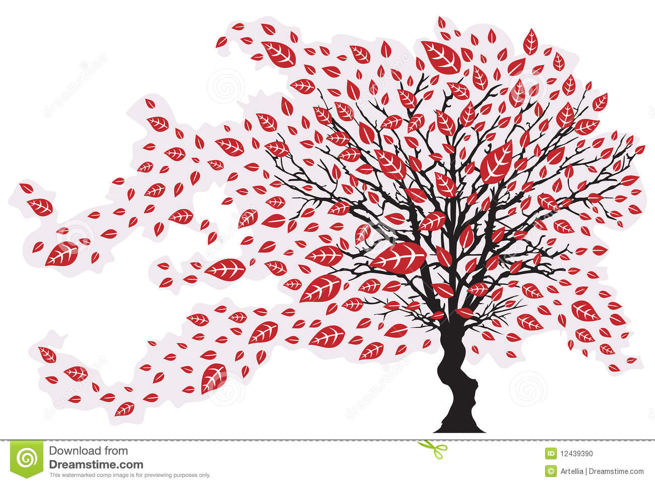 Tree In The Wind With Falling Leaves Vector Illustration Stock Photo Image 12439390