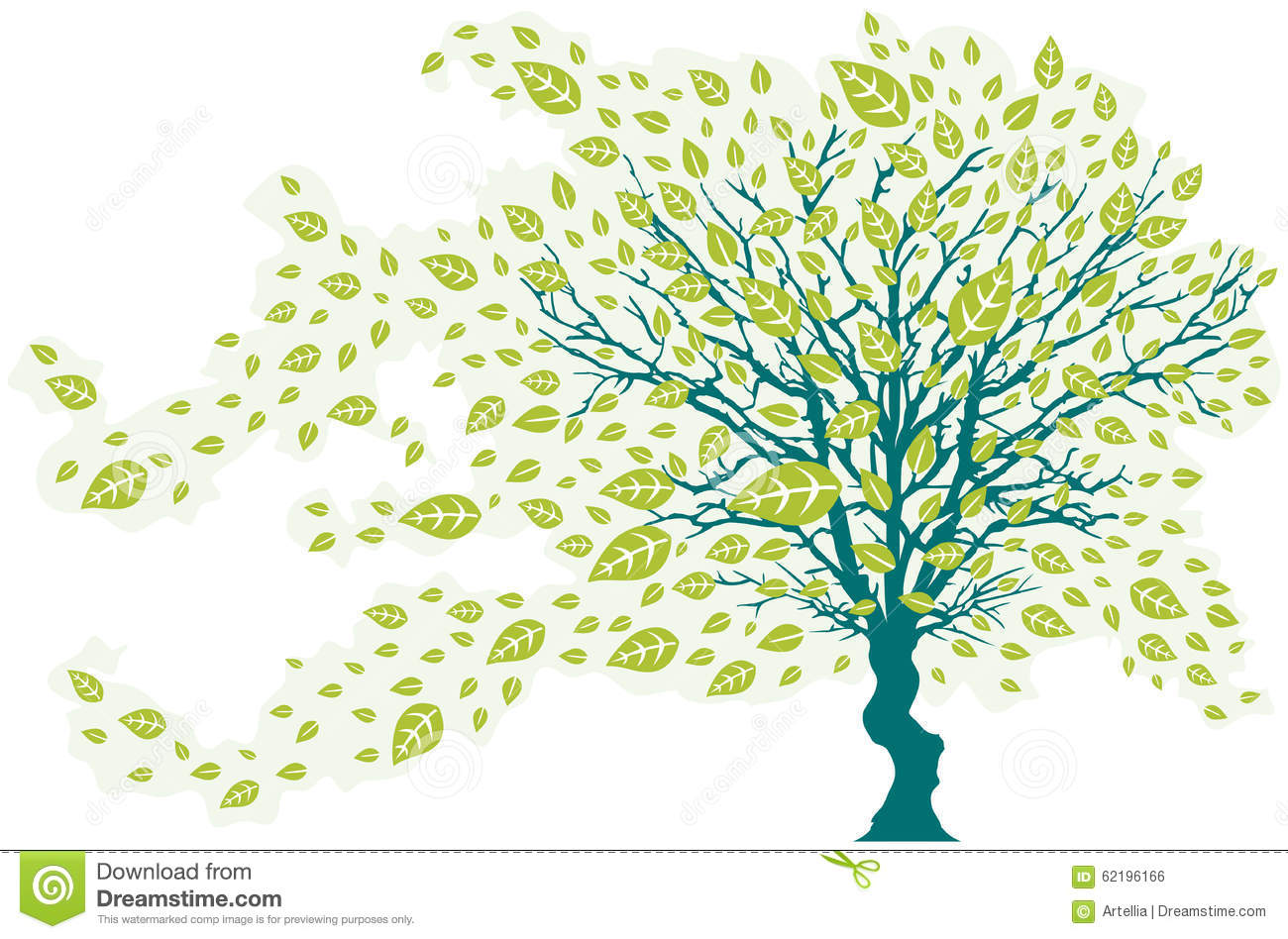 tree in the wind with falling leaves green colors stock vector
