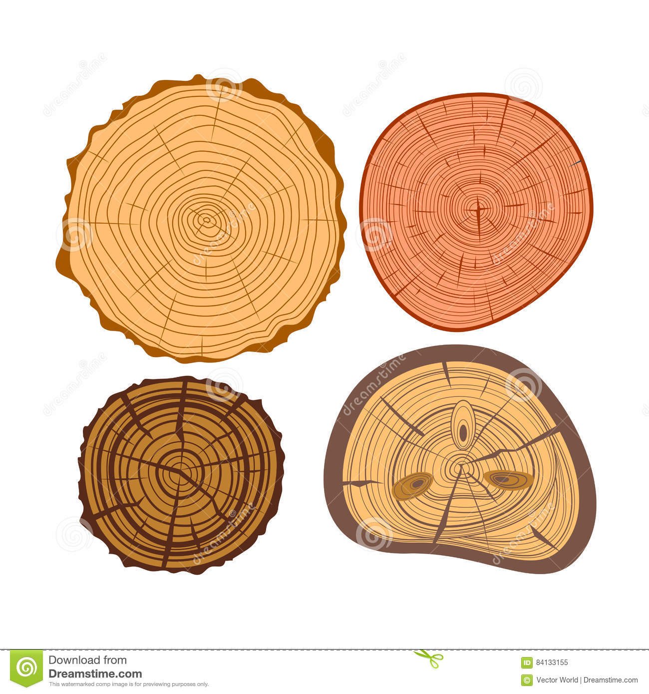 Tree wood slices vector set stock vector image 84133155 for How to cut wood slices