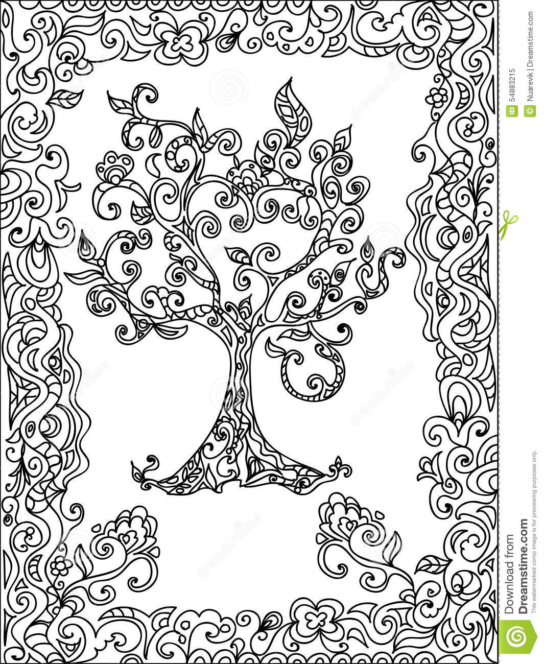 coloring isolated page tree white zentangle - Zentangle Coloring Pages