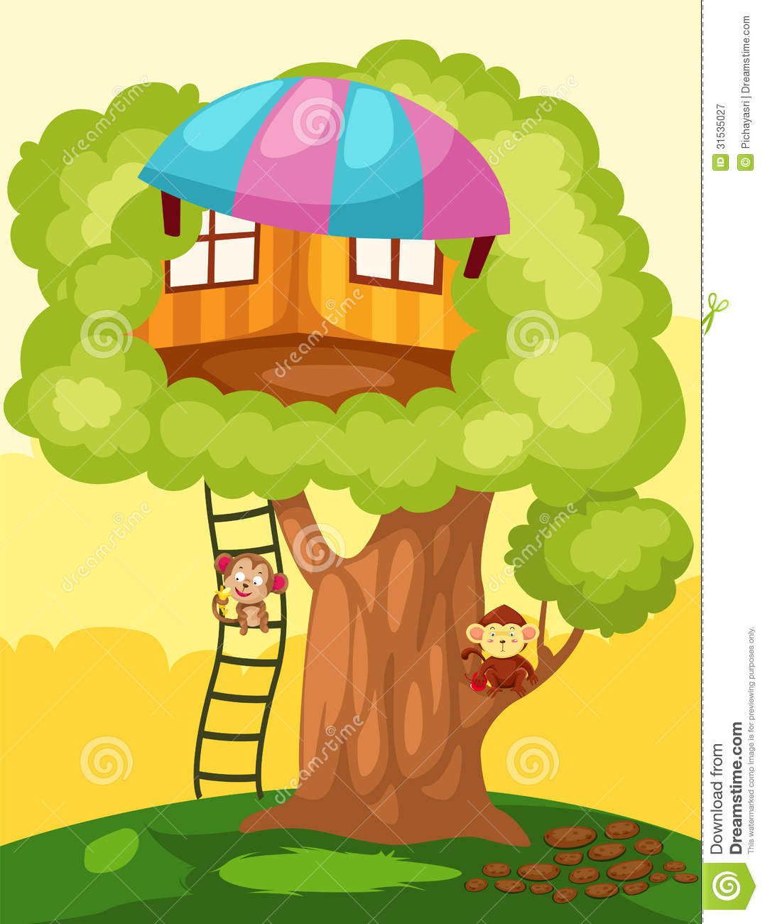 Printable Tree House Plans: Treehouse Stock Vector. Image Of Branches, Fantastic