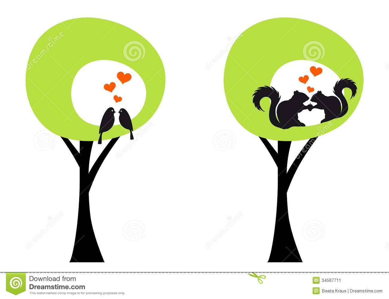 trees with birds and squirrels  vector stock image image free clipart of chipmunk chipmunk clip art black and white
