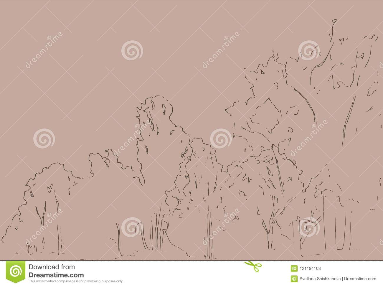 Trees and bushes sketch. Landscape linear drawing. Hand drawn illustration. Forest on white background. Black Line style design.