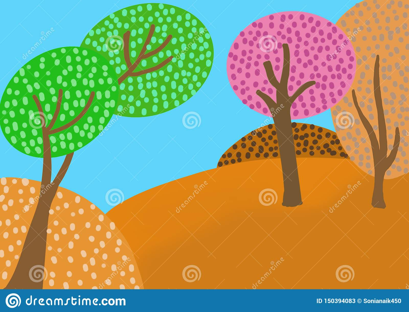 Multi coloured forest with a blue sky