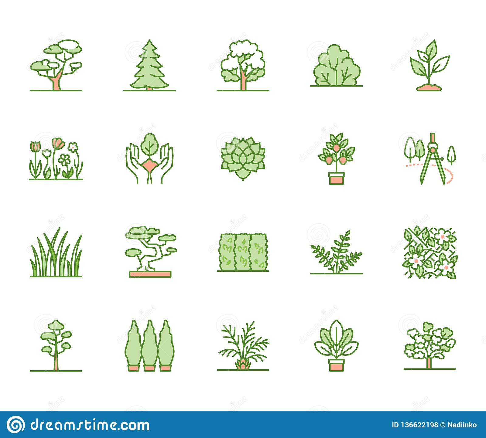 Trees Flat Line Icons Set Plants Landscape Design Fir Tree