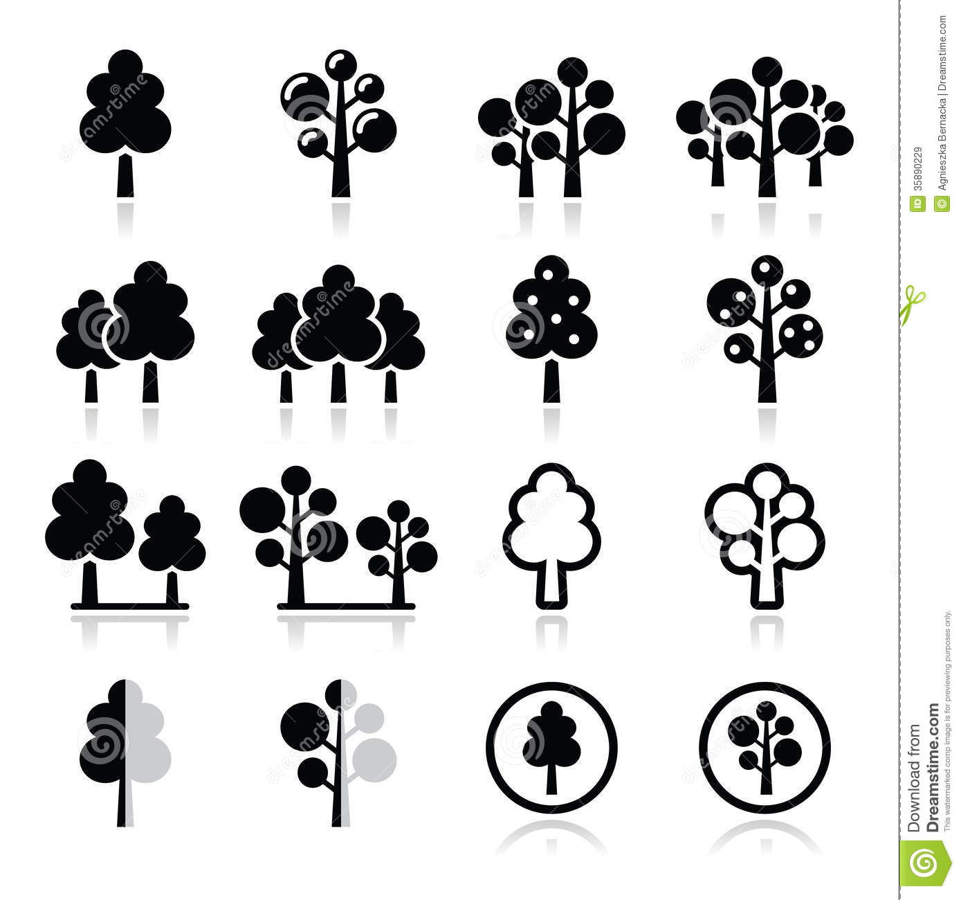 Trees, Forest, Park Icons Set Royalty Free Stock Images - Image ...