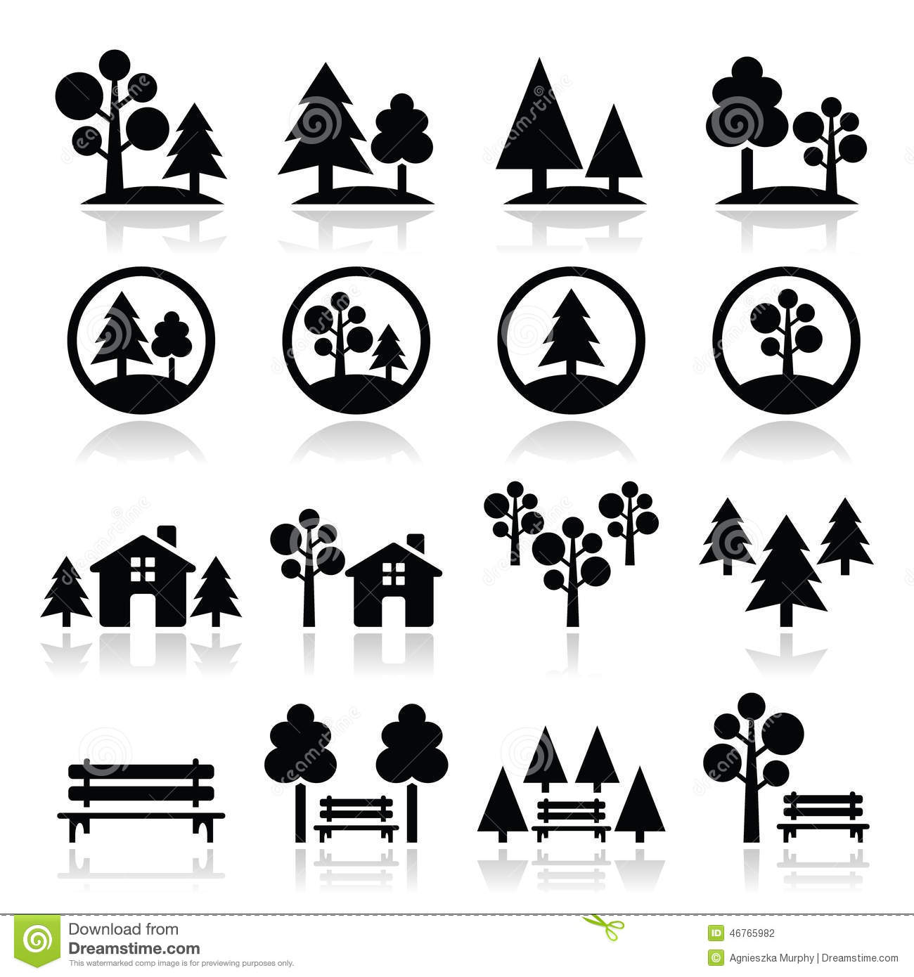 Trees, Forest, Park Icons Set Stock Illustration - Image ...