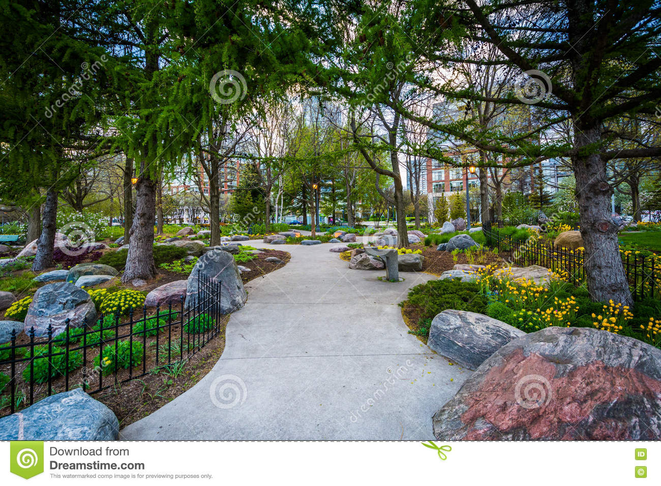 Trees And Gardens Along A Walkway At The Toronto Music Garden, A