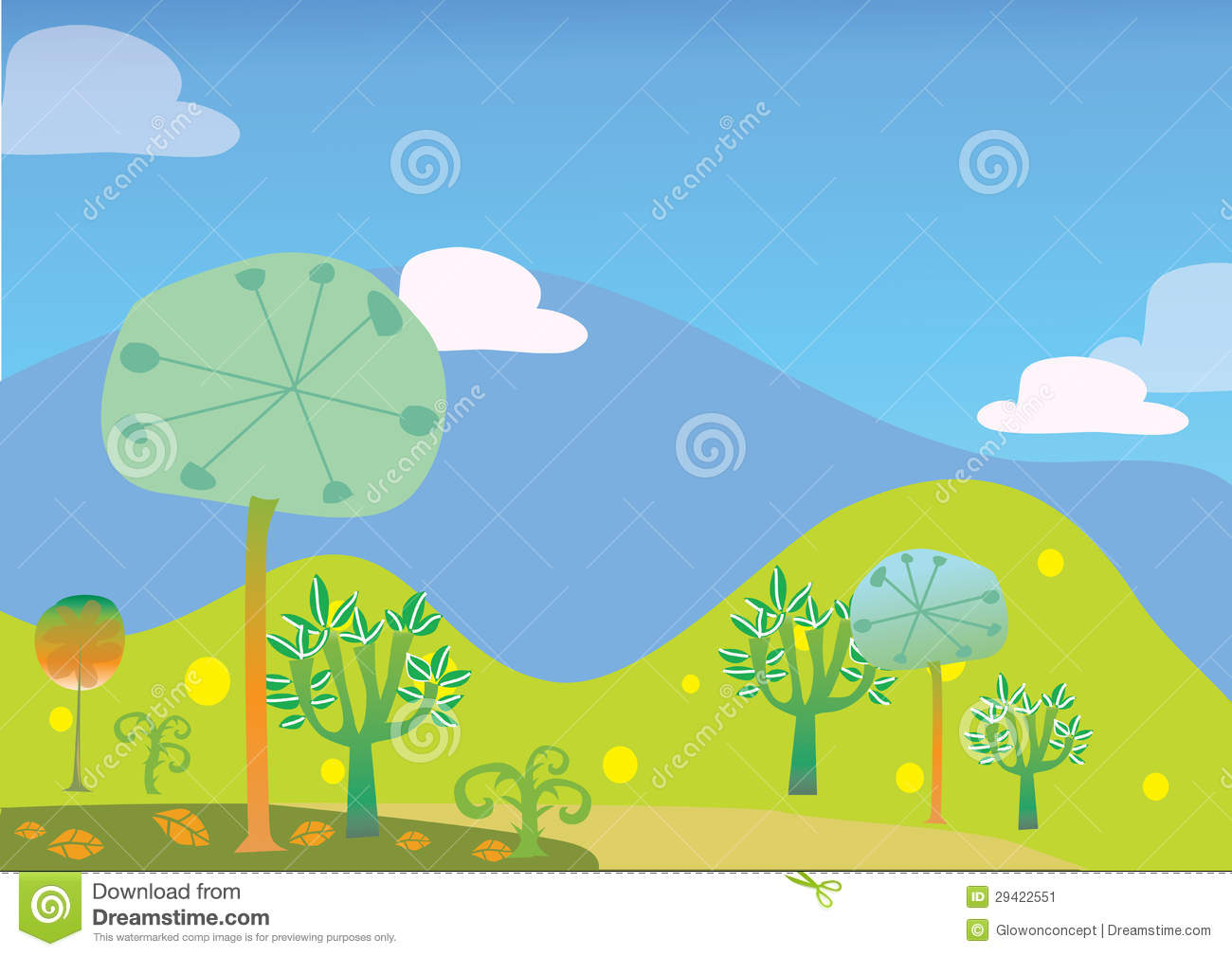 Landscape Illustration Vector Free: Trees And Hill Landscape Vector Kid Illustration Stock