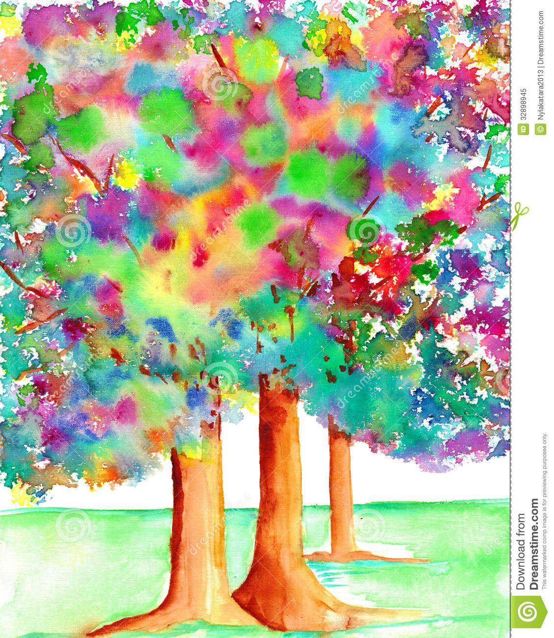 Trees With Illuminated Leaves Watercolor Painting Royalty Free Stock Photo Image 32898945