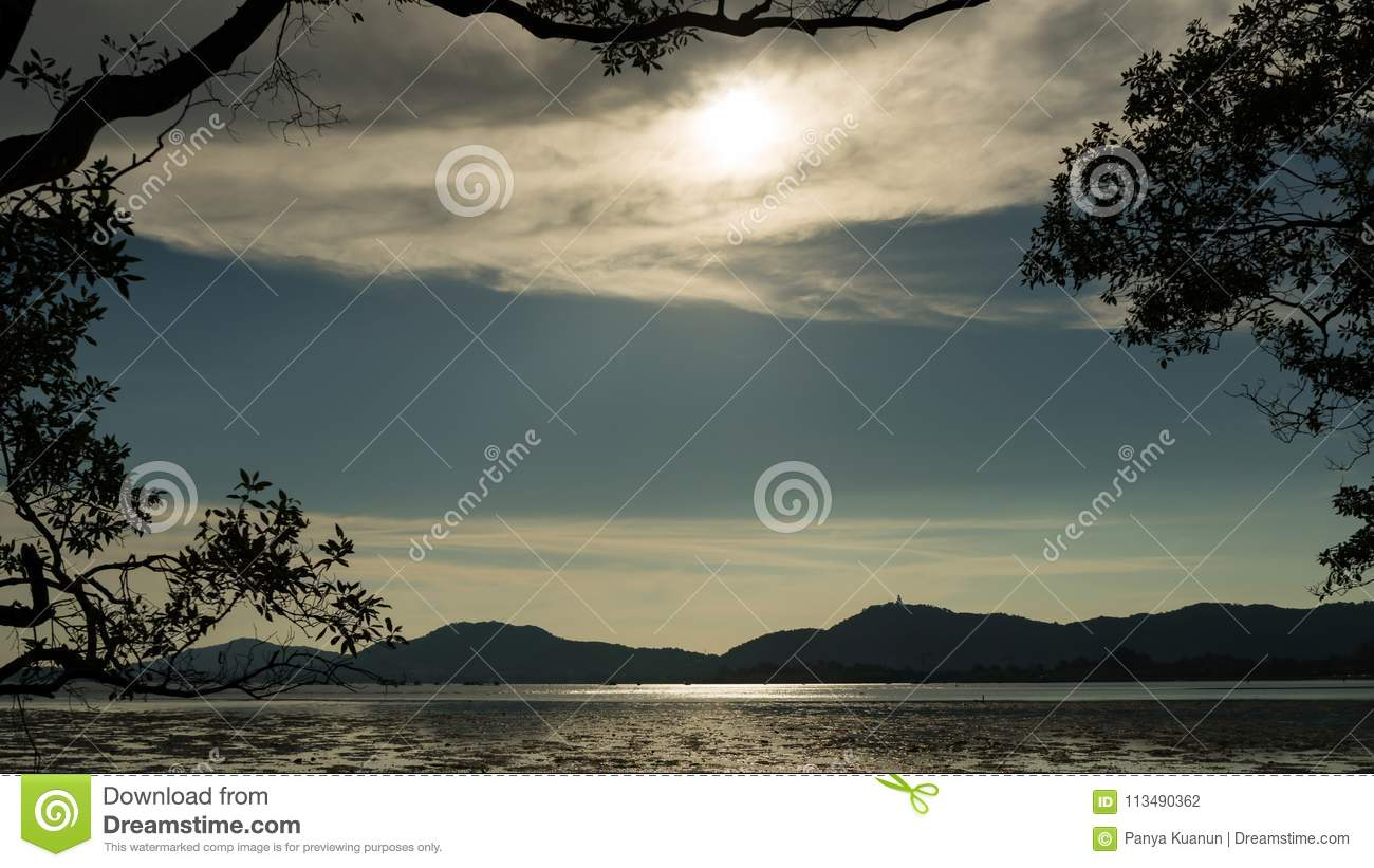 Trees And Leaves Frame With Tropical Sea In Evening Time. Stock ...