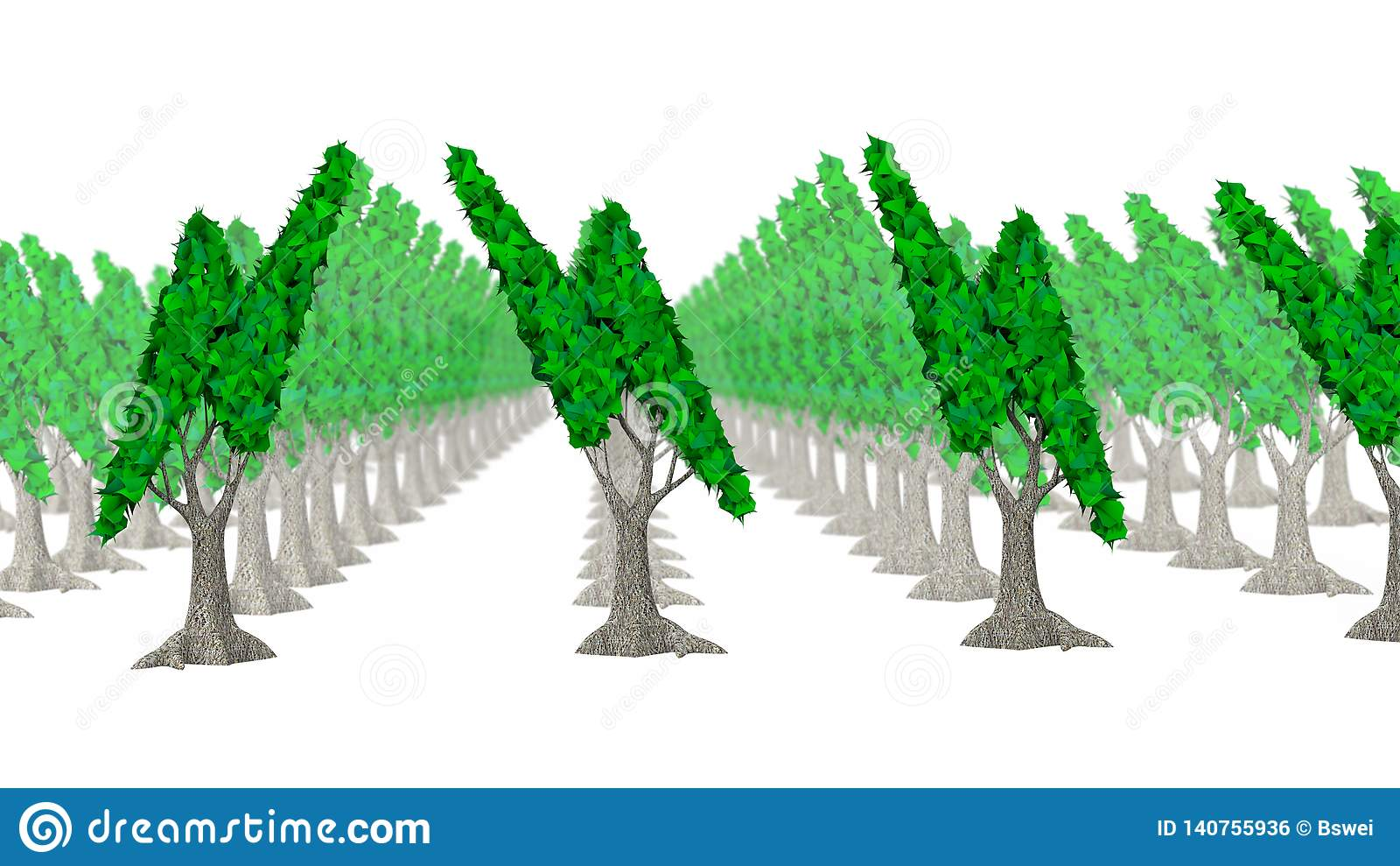 Trees With Leaves In Lightning Bolt Shape, 3D Illustration