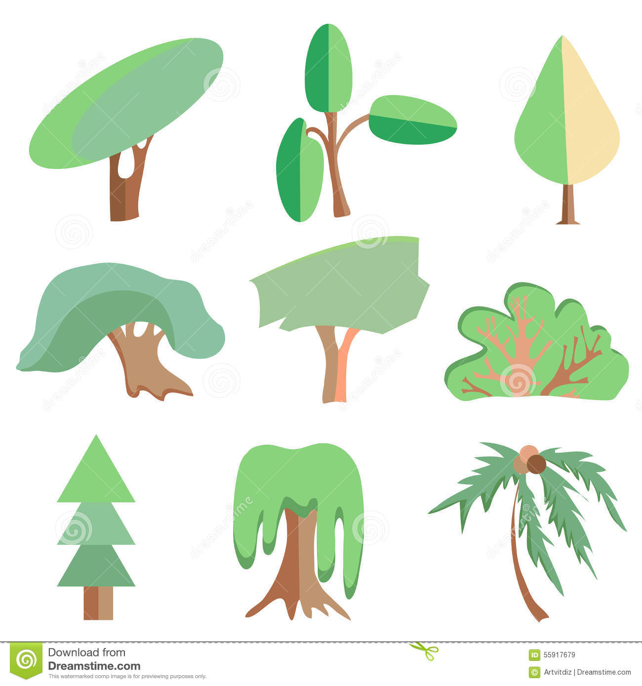 Trees palm oak spruce bush willow symbolic stock vector trees palm oak spruce bush willow symbolic biocorpaavc Image collections