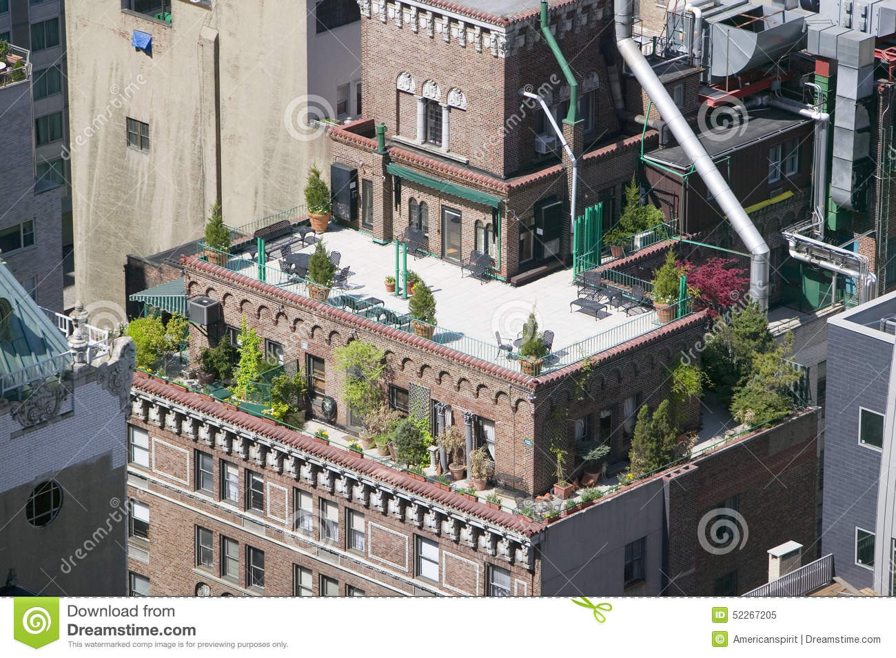 Trees And Plants Grow On Outdoor Deck Of New York City Apartment Building In Manhattan New York
